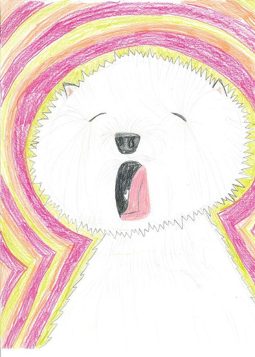 Yawning Doggie Greeting Card featuring the drawing Yawning Doggie by Fred Hanna