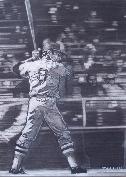 Charcoal Greeting Card featuring the drawing Yaz - Carl Yastrzemski by Sean Connolly