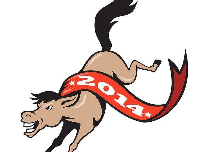 Horse Greeting Card featuring the digital art Year Of Horse 2014 Jumping Cartoon by Aloysius Patrimonio