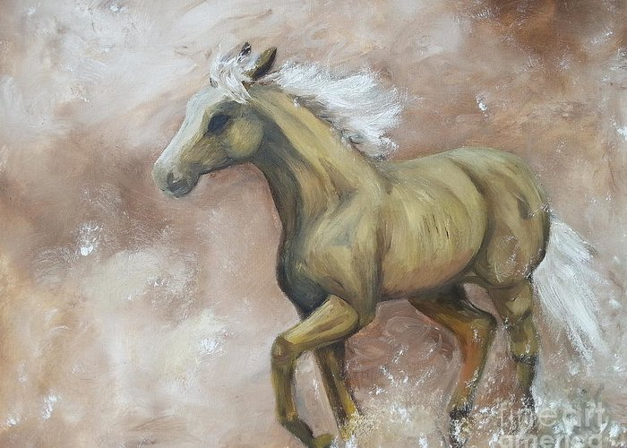 Horse Greeting Card featuring the painting Yearling In Storm by Abbie Shores
