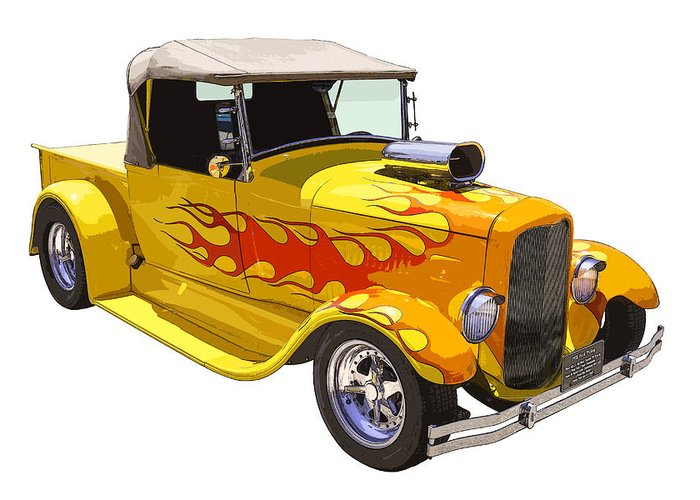 1928 Ford Pickup Greeting Card featuring the photograph Yellow 1928 Hotrod Pickup Truck by Keith Webber Jr