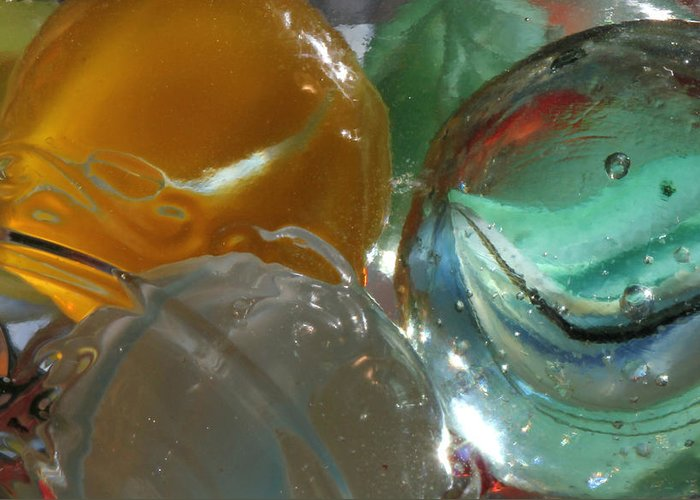 Marble Greeting Card featuring the photograph Yellow And Blue Marble by Mary Bedy