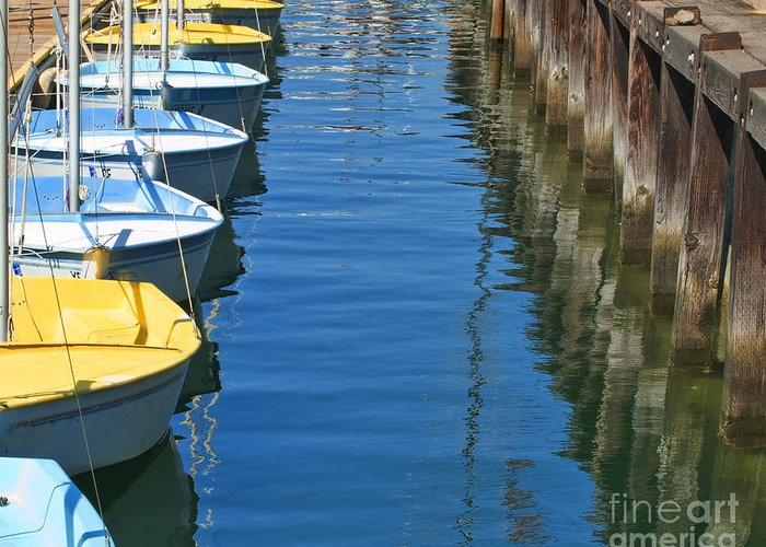 My Ocean Book Greeting Card featuring the photograph Yellow And Blue Sailboats From The Book My Ocean by Artist and Photographer Laura Wrede