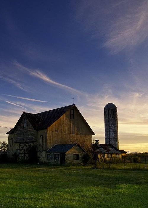 Sunset Greeting Card featuring the photograph Yellow Barn At Sunset by Bailey and Huddleston