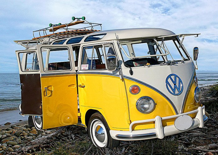 Yellow Vw Bus Greeting Card featuring the photograph Yellow Bus At The Beach by Ron Regalado