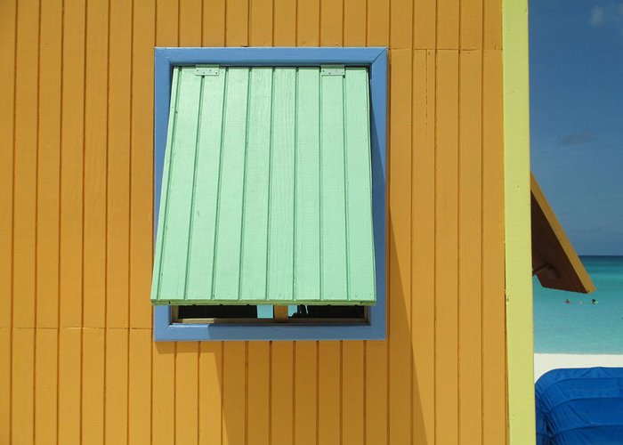 Caribbean Corner Greeting Card featuring the photograph Yellow Cabin by Randall Weidner