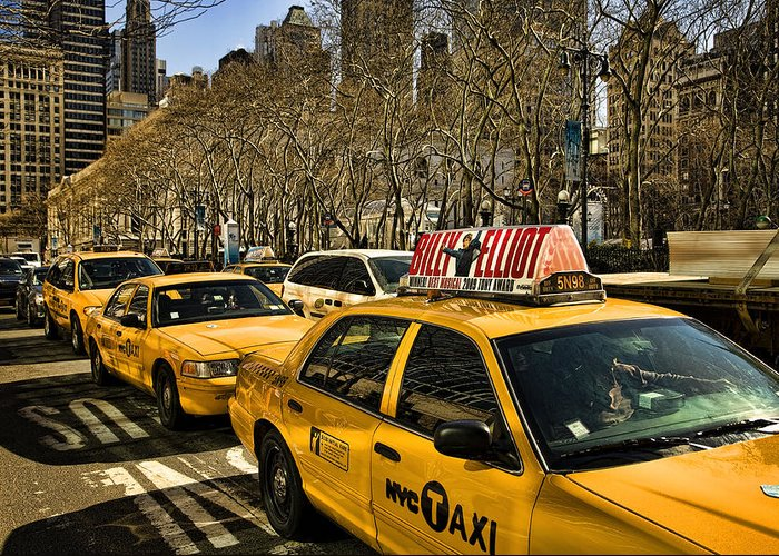 Yellow Cabs Greeting Card featuring the photograph Yellow Cabs by Joanna Madloch