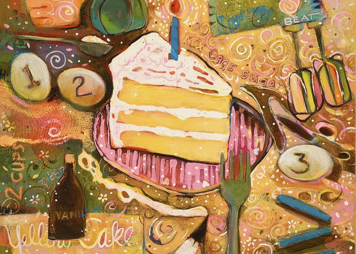 Yellow Cake Recipe Greeting Card For Sale By Jen Norton
