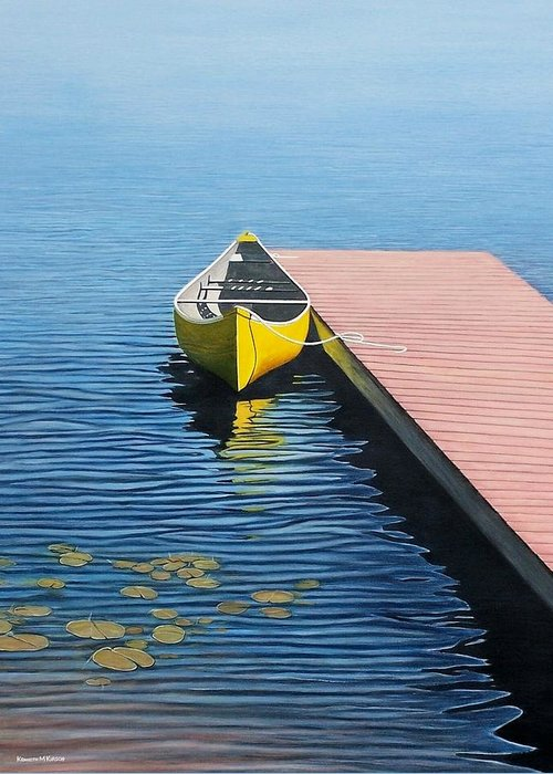 Landscape Paintings Greeting Card featuring the painting Yellow Canoe by Kenneth M Kirsch