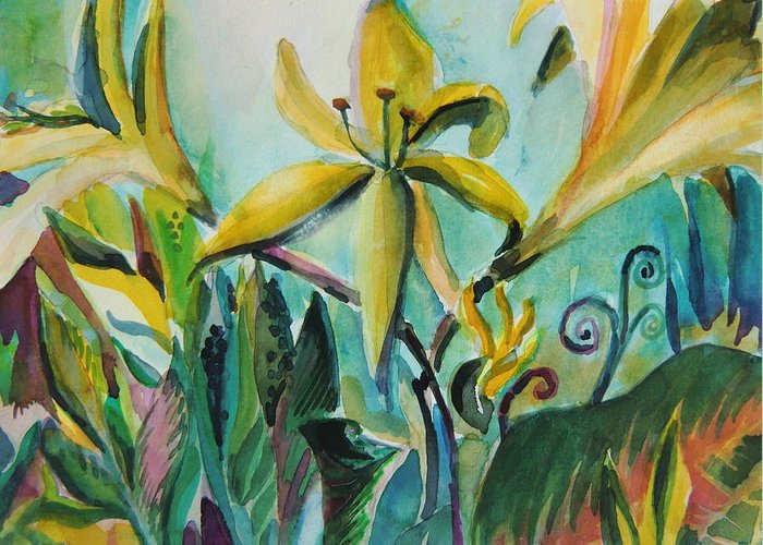 Lily Greeting Card featuring the painting Yellow Day Lilies by Mindy Newman