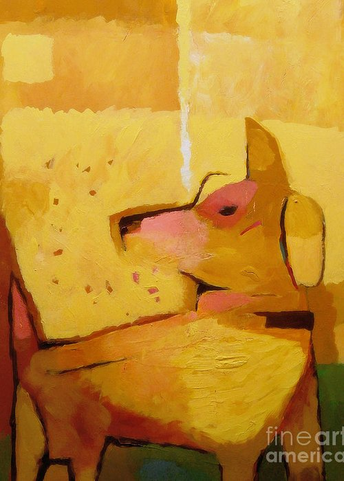 Dog Greeting Card featuring the painting Yellow Dog by Lutz Baar
