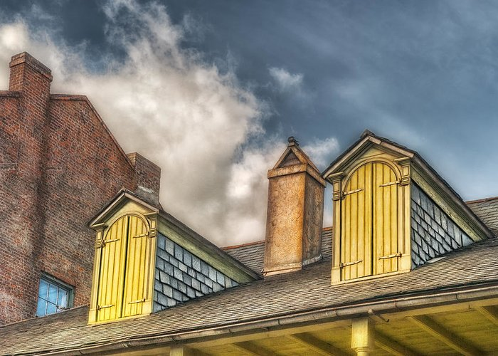 Dormer Greeting Card featuring the photograph Yellow Dormers by Brenda Bryant