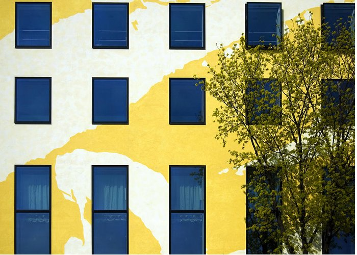 Behrenstra�e Greeting Card featuring the photograph Yellow Facade In Berlin by RicardMN Photography