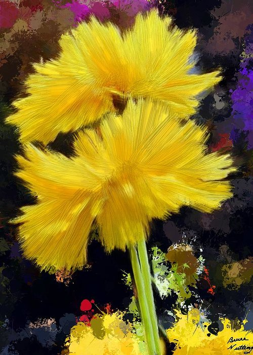 Yellow Greeting Card featuring the painting Yellow Flower With Splatter Background by Bruce Nutting