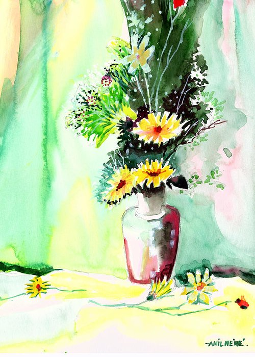 Flower Greeting Card featuring the painting Yellow Flowers 1 by Anil Nene