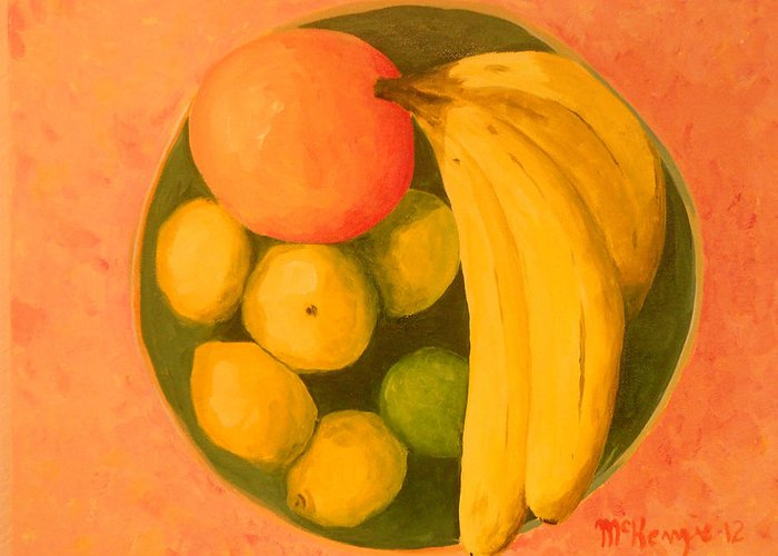 Still Life Greeting Card featuring the painting Yellow Fruit No2 by Robb McKenzie