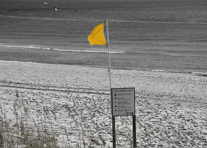 Coastline Greeting Card featuring the photograph Yellow Hazard by Susan Leggett