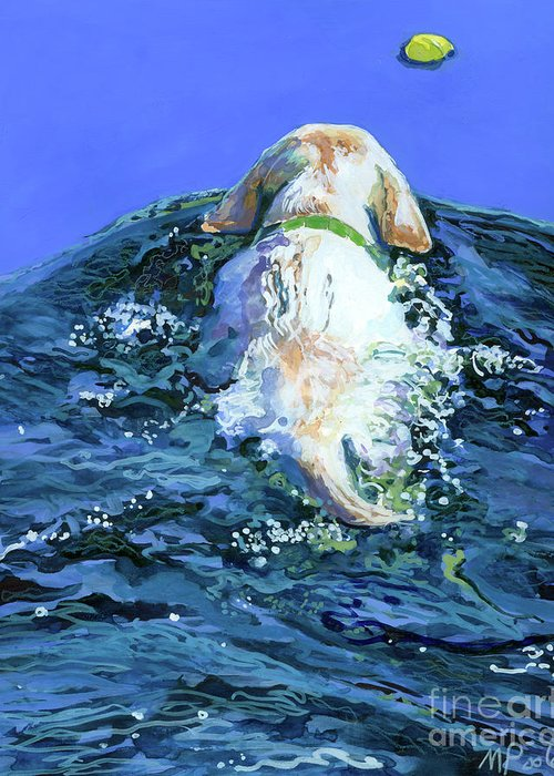 Yellow Labrador Retriever Greeting Card featuring the painting Yellow Lab Blue Wake by Molly Poole