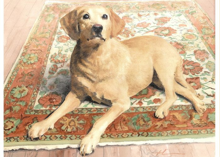 Miketheuer.com Yellow Lab On A Rug Watercolor Portrait Greeting Card featuring the drawing Yellow Lab On A Rug Watercolor Portrait by Mike Theuer