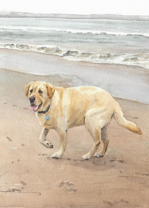 Www.miketheuer.com Yellow Lab On Beach Watercolor Portrait Greeting Card featuring the drawing Yellow Lab On Beach Watercolor Portrait by Mike Theuer