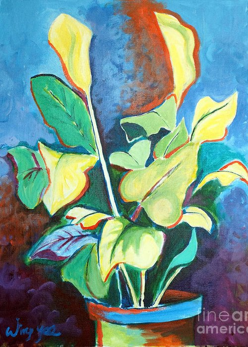Yellow Lilies Greeting Card featuring the painting Yellow Lilies by Wing Yee Kwong