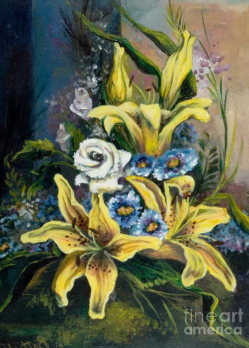 Originals Greeting Card featuring the painting Yellow Lillies by Elisabeta Hermann