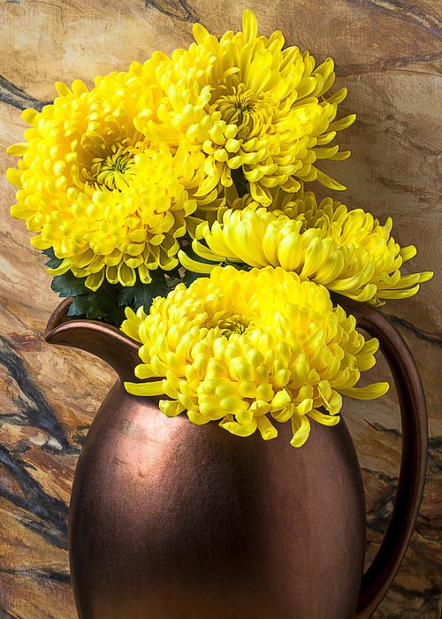 Yellow Mums Copper Pitcher Greeting Card featuring the photograph Yellow Mums In Copper Vase by Garry Gay