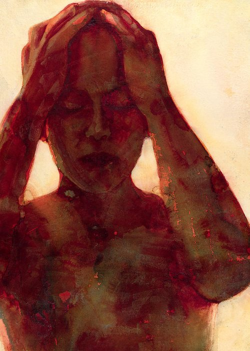 Female; Head; Hearing; Thinking; Pensive; Introspection; Introspective; Blue; Despair; Pain; Alien; Hearing Voices; Anguish; Depression; Head In Hands; Gesture; Hands Greeting Card featuring the painting Yellow One Second Noise by Graham Dean