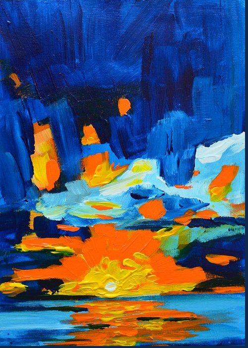 Art Greeting Card featuring the painting Yellow Orange Blue Sunset Landscape by Patricia Awapara