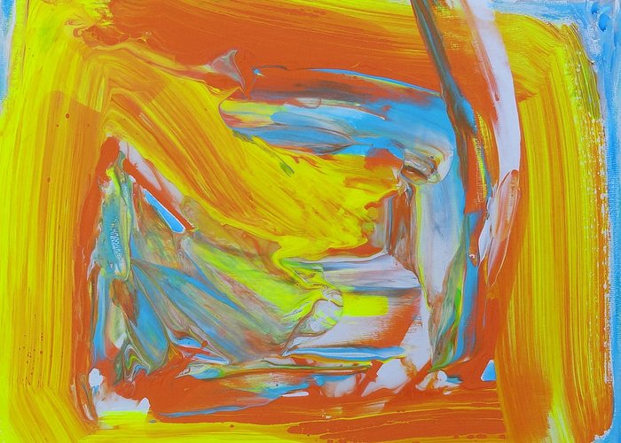 Abstract Painting Greeting Card featuring the painting Yellow -orange Window. by Agnieszka Praxmayer