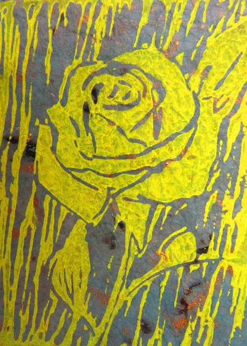 Printmaking Greeting Card featuring the painting Yellow Rose On Blue by Marita McVeigh