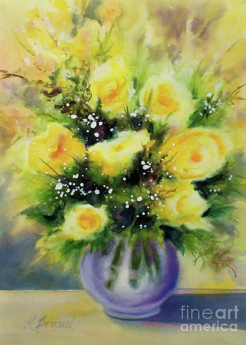 Paintings Greeting Card featuring the painting Yellow Roses by Kathy Braud