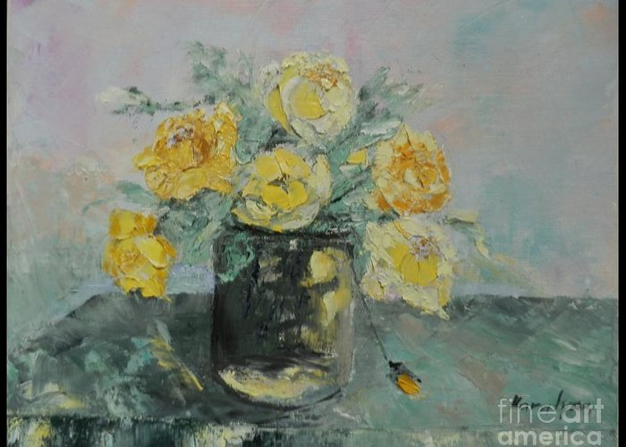 Yellow Roses Greeting Card featuring the painting Yellow Roses by Maria Karalyos