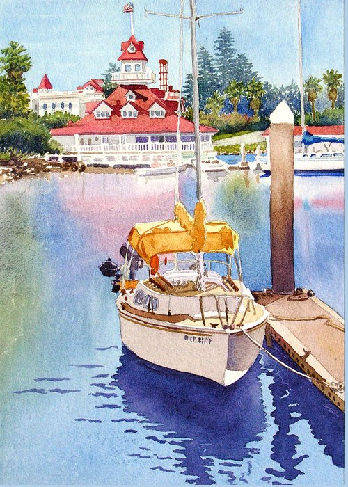 Sailboat Greeting Card featuring the painting Yellow Sailboat And Coronado Boathouse by Mary Helmreich