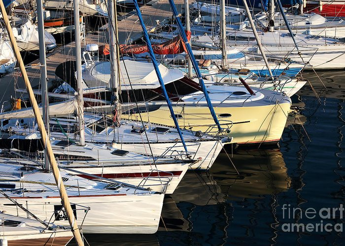 Yellow Sailboat At Marseille Greeting Card featuring the photograph Yellow Sailboat At Marseille by John Rizzuto