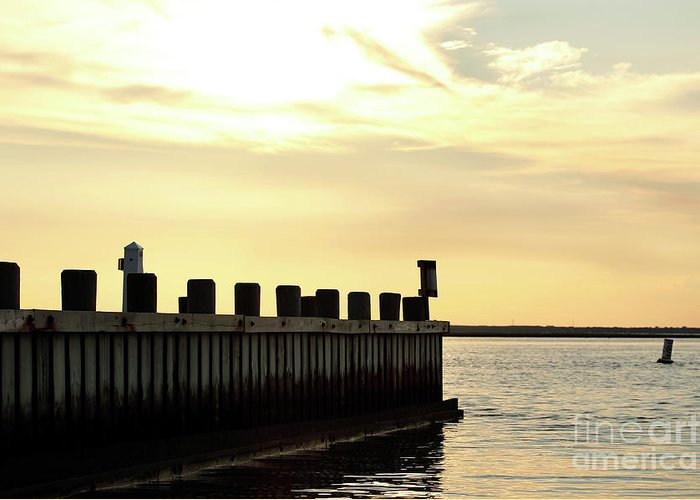 Yellow Sky Greeting Card featuring the photograph Yellow Sky At Lbi by John Rizzuto