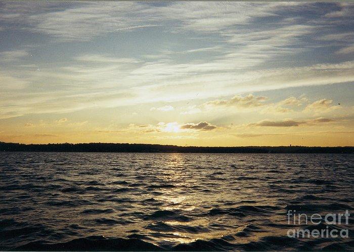 Yellow Sunrise In Manhassett Bay Greeting Card featuring the photograph Yellow Sunrise In Manhassett Bay by John Telfer