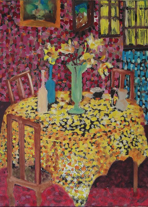 Still Life Greeting Card featuring the mixed media Yellow Table by Karen Coggeshall