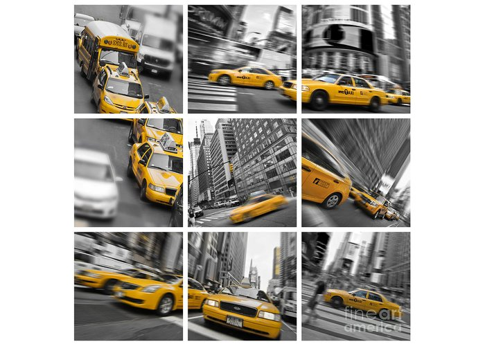 New York Greeting Card featuring the photograph Yellow Taxis Collage by Delphimages Photo Creations