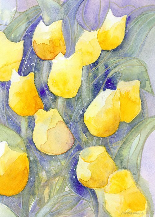 Yellow Tulips Greeting Card featuring the painting Yellow Tulips 1 by Christina Rahm Galanis