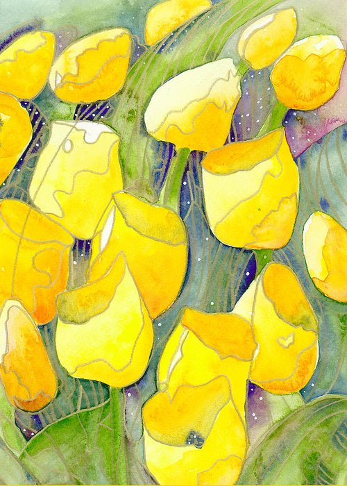 Yellow Tulips Greeting Card featuring the painting Yellow Tulips 2 by Christina Rahm Galanis