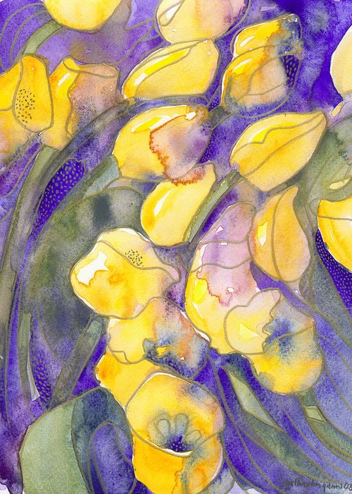 Yellow Tulips Greeting Card featuring the painting Yellow Tulips 3 by Christina Rahm Galanis