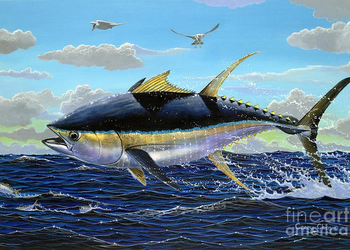 Tuna Greeting Card featuring the painting Yellowfin Crash Off0081 by Carey Chen