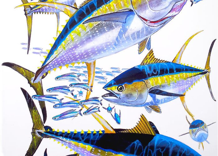 Yellowfin Tuna Greeting Card featuring the painting Yellowfin Run by Carey Chen