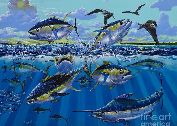 Yellowfin Tunas Greeting Card featuring the painting Yellowfin Run Off002 by Carey Chen
