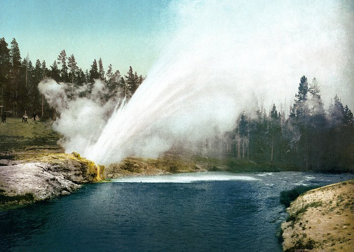 1905 Greeting Card featuring the painting Yellowstone Geyser, C1905 by Granger