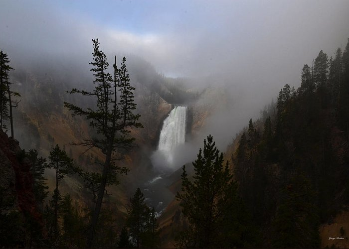 Waterfalls Greeting Card featuring the photograph Yellowstone - Lower Falls At Sunrise by George Bostian