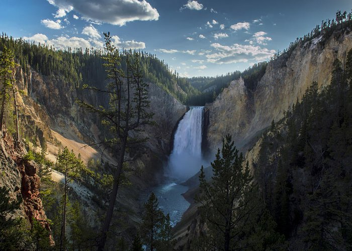 Yellowstone National Park Greeting Card featuring the photograph Yellowstone River Lower Falls by Michael J Bauer