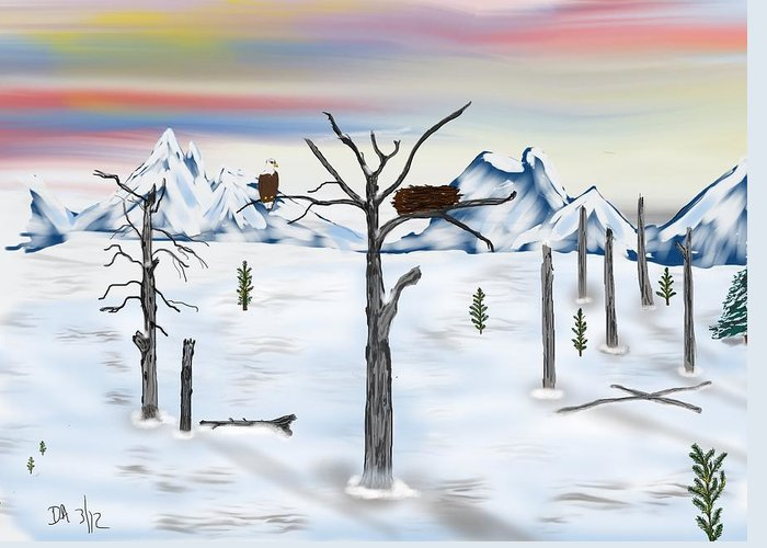 Wild Life Greeting Card featuring the digital art Yellowstone Years After by Don Ackley