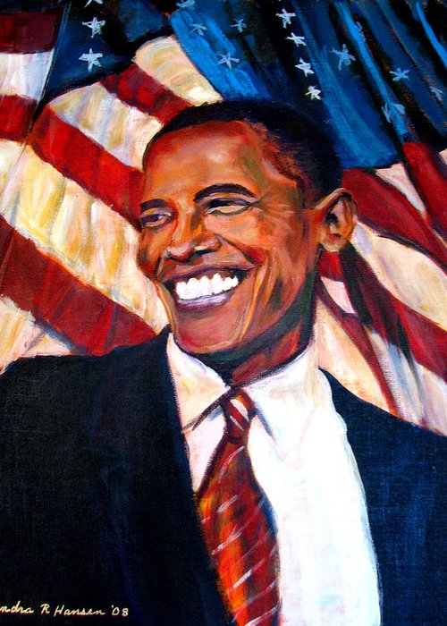 Barack Greeting Card featuring the painting Yes We Can by Art Nomad Sandra Hansen